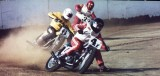 Doyle racing Flat track on his Bultaco in 3rd place  at West, Tx 1/4 mile short track 1974.jpg