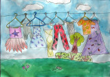 hanging clothes, Victoria, age:7