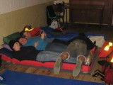 They were letting the air out of James's air bed - honest