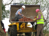 Unloading bricks