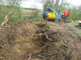 Excavating a hole for the dredgings