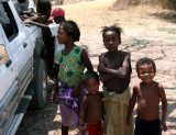 Children checking out our truck on the road to Kirindy