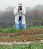 Jim Arterburn Photographing Snow Bunting