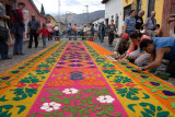 Alfombras or carpets are made from flowers, fruits, and colored sawdust pressed into elaborate stencils