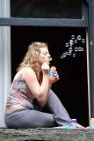 Blowing bubbles in Seattle