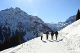 Kleinwalsertal Österreich Winterwanderung Kühren (Wäldele) über Höhenweg nach Baad  (12.2.2008)