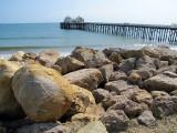 grosse pierre au Pier de Malibu