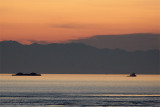 A tug and barge ply Rosario Strait at sunset