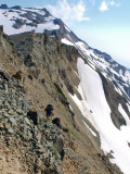 P8054600 Hikers navigating dangerous section of Goat Rocks trail.jpg