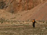Lone pilgrim at Namtso