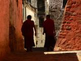 Two monks in Tashilhunpo Monastery