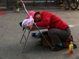 Tired saleslady