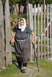 Rragami Village - lady with Leki professional walking sticks?!