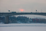 Sun setting over Essingeleden