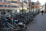a sea of cycles in bike-mad Amsterdam