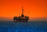 Oil rig at sunset, Huntington Beach
