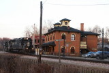 Illinois Central Depot at Galena, Illinois with passing freight train.jpg