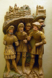 Five soldiers from a wooden Passion scene, ca 1500