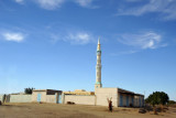 Nubian village mosque with a tall minaret south of Sesibi