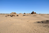 Approaching the Pyramids of Nuri across the desert from the west