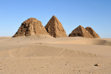 The pyramids of Nuri are mostly aligned in a row SW to NE