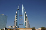 Bahrain World Trade Centre with wind turbines on the three skybridges