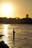 Fisherman at sunset, Grand Baie