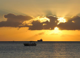 Mauritius sunset with a tanker on the horizon
