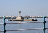 Colossal statue of Buddha on an island in Hussain Sagar Lake, Hyderabad