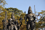 Bronze statues line a portion of Tankbund Road along the Hussain Sagar lake