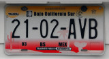 Mexican License Plate - Baja California Sur