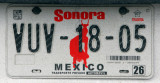 Mexican License Plate - Sonora