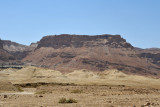 The 1300 ft cliffs of the eastern face of the fortress of Masada rising above the Dead Sea