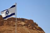 Israeli flag with Masada - important focal point of Israeli nationalism