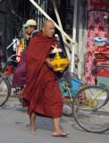 Monk with a begging bowl, Mandalay