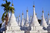Stupas housing marble slabs of Buddhist commentary, Sandamani Paya, Mandalay