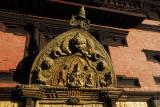 Golden torana with Shiva, Parvati, Ganesh and Kumar, Golden Gate, Royal Palace, Durbar Square, Patan