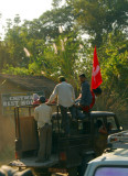 Maoist cadres outside the Chitwan Guest House, Sauraha