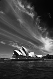 Sydney Opera House with good sky in monochrome