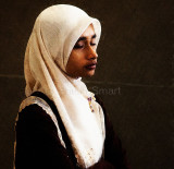 Schoolgirl in hijab using Impressionist filter