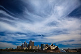 Sydney Opera House and city with dramatic sky