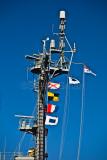Flags on HMAS Kanimbla on Sydney Harbour
