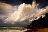 Warriewood beach with cloud formation landscape