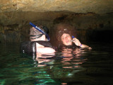 Tara and Rob snorkling in the Cenote