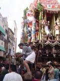 19-Parthasarathy Utsavam.Day 07.Ther.Sri Vaishnavas giving thrust from back of the ther.JPG
