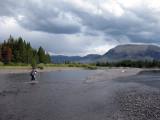 Wading Mountain Creek in Yellowstone