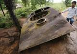 Remains of small destroyed tank, Phonsavan, Xieng Kouang, Laos
