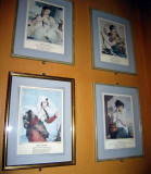 Many prints decorate the walls