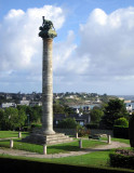 View from dining room of column which commemorates