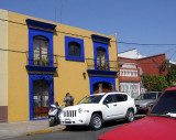 One of many colorful buildings